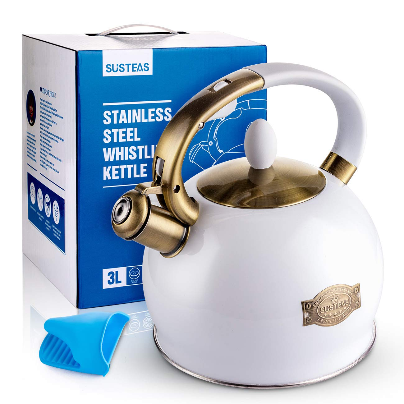 SUSTEAS Stove Top Whistling Tea Kettle-Surgical Stainless Steel Teakettle Teapot with Cool Toch Ergonomic Handle,1 Free Silicone Pinch Mitt Included,2.64 Quart White
