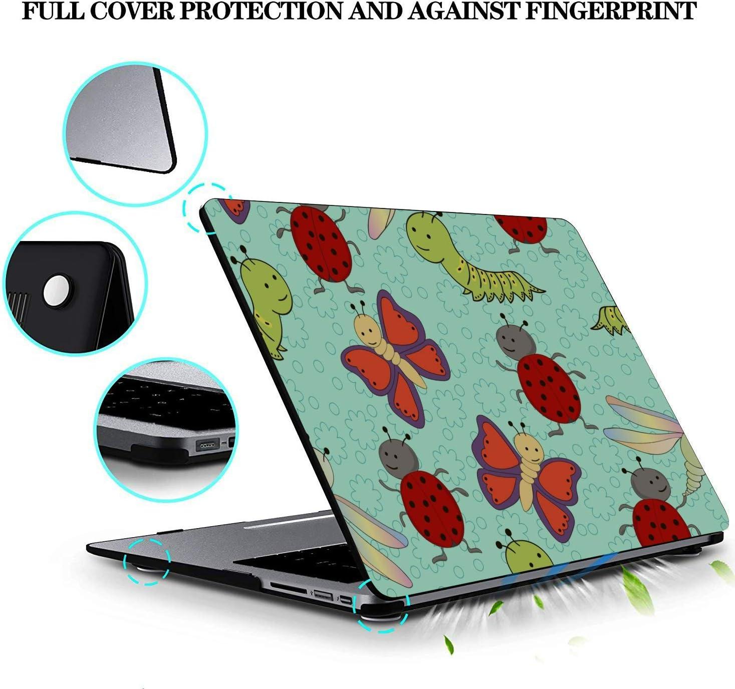 A1706 MacBook Pro Case Small Cute Cartoon Reptile Silkworm Plastic Hard Shell Compatible Mac Air 11 Pro 13 15 MacBook A1466 Case Protection for MacBook 2016-2019 Version