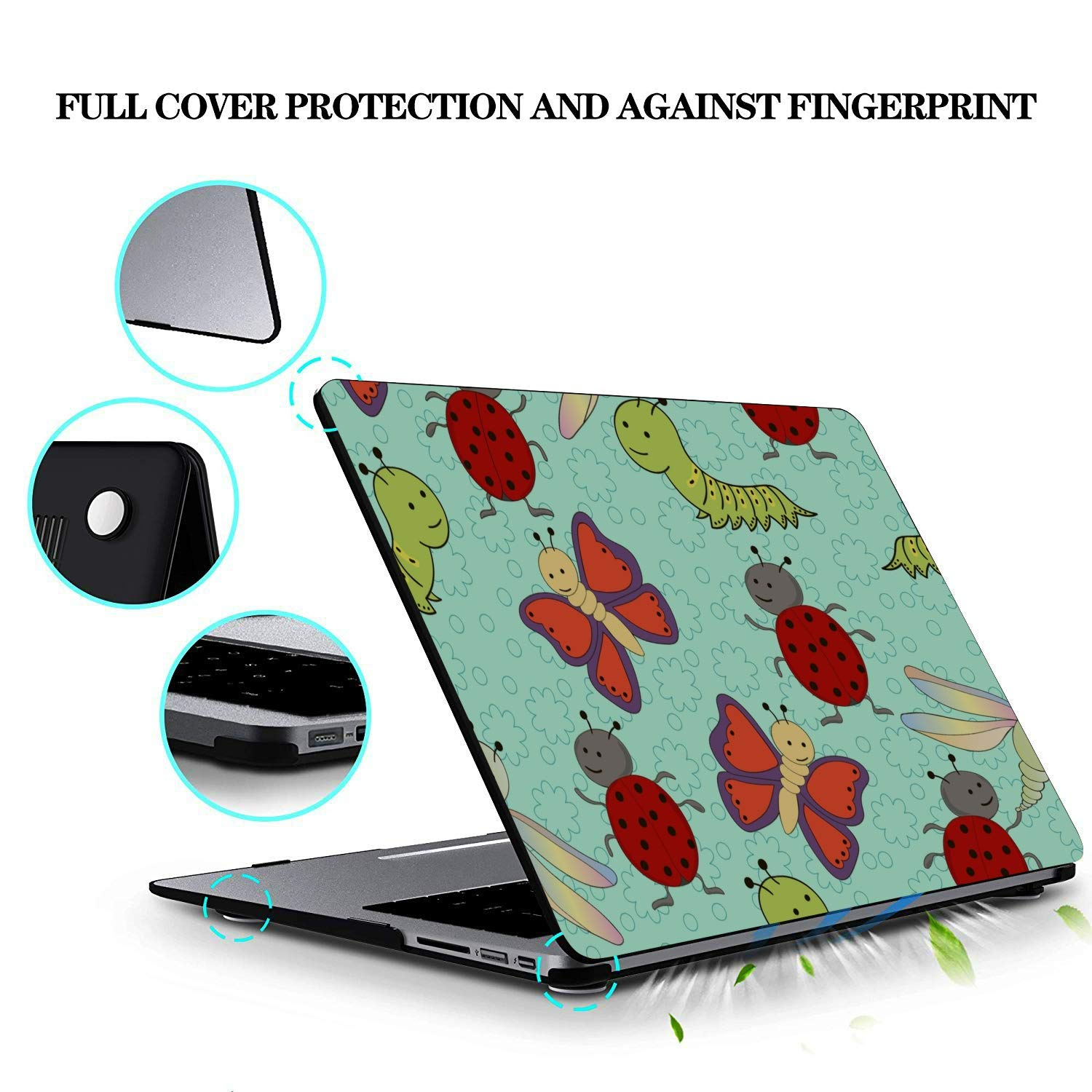 Laptop Covers Small Cute Cartoon Reptile Silkworm Plastic Hard Shell Compatible Mac Air 11 Pro 13 15 Laptop Hard Cases Protection for MacBook 2016-2019 Version