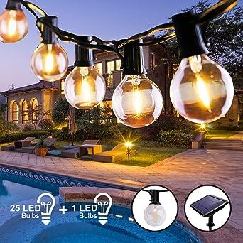 Guirnalda Luces Exterior Solar, Qxmcov 7.6 m Cadena de Luz 25 G40 LED Bombillas con 1 de Carga, Guirnaldas Luminosas Exterior e Interior Decorativas para Jardin Terraza Habitacion Fiestas Navidad: Amazon.es: Iluminación