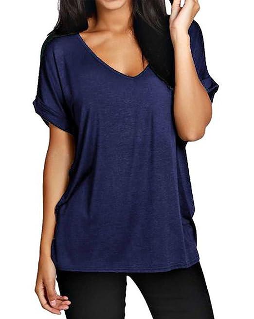 ZANZEA Mujer Camisetas Camisas Blusa Tops Shirt T-Shirt Talla Grande Cuello V Manga Corta