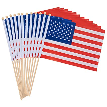 c958afca00a Amazon.com   Juvale 12-Piece American Stick Flags - US Hand-held ...