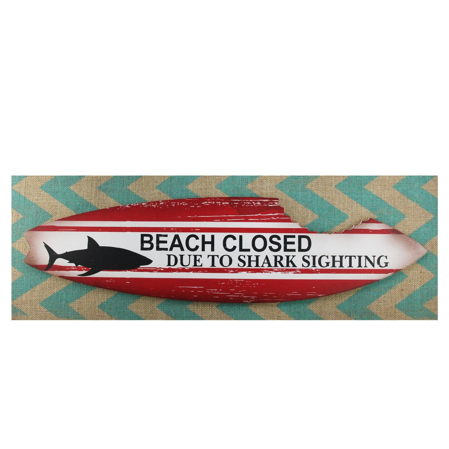 Northlight Beach Closed Shark Bitten Surfboard Linen Burlap Wall Art 24""