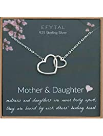 EFYTAL Mom Gifts, 925 Sterling Silver 2 Interlocking Hearts Necklace for Mother & Daughter, Mom Necklaces for Women, Best...