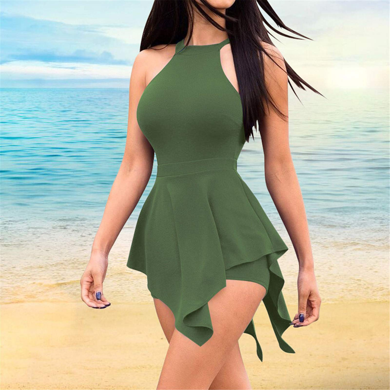 Thenxin Womens Halter Beach Jumpsuit Sleeveless Solid Color Zipper Back Ruffle Hem Holiday Rompers(Green,L) by Thenxin (Image #2)