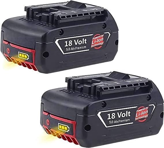 Imagen de2X Reoben BAT609 18V 5000mAh Reemplazo de batería de repuesto para Bosch BAT609 BAT609G BAT618 BAT618G BAT619 BAT619G