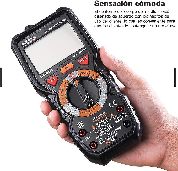 test di continuit/à di Beep con illuminazione TACKLIFE DM01/multimetro digitale multi tester con temperatura di rilevamento della tensione senza contatto L/ínea Viva