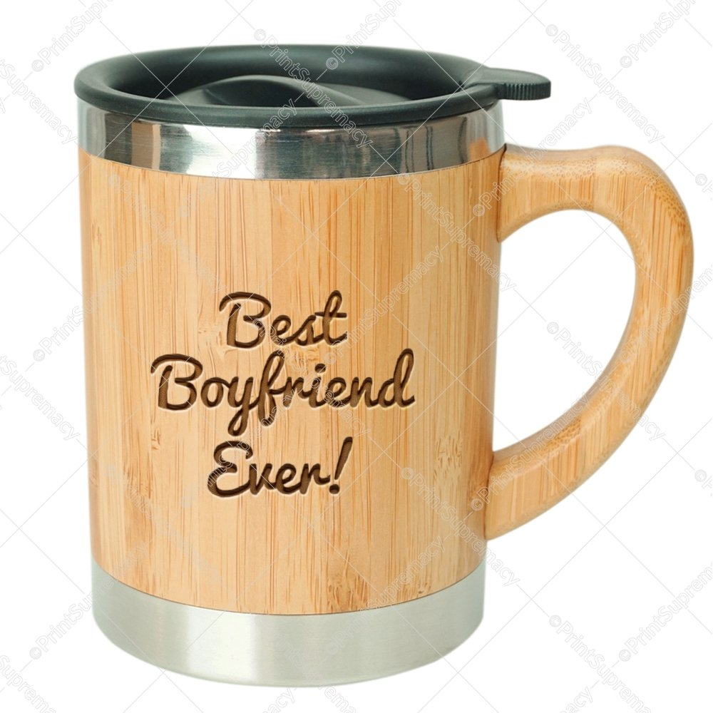 Best Boyfriend Ever-Stainless Steel Bamboo Coffee Mug Insulated with Lid Anniversary Gift for him,Valentine's Day Gift For Him,Valentine's Coffee Mug,Boyfriend Birthday Gift,Best Boyfriend Gift Cup by Print Supremacy