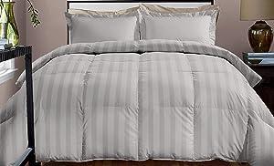 Blue Ridge Home Fashions 800 CVC Stripe Twin in Platinum Color Down Alternative COMFORTERS