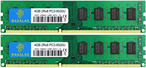 Rasalas 8GB DDR3 Kit (2x4GB) PC3-8500 DDR3 1066 Mhz DDR3 8GB Udimm DDR3 Ram 2Rx8 1.5V CL7 Desktop Comuter Ram Memory Modules Upgrade
