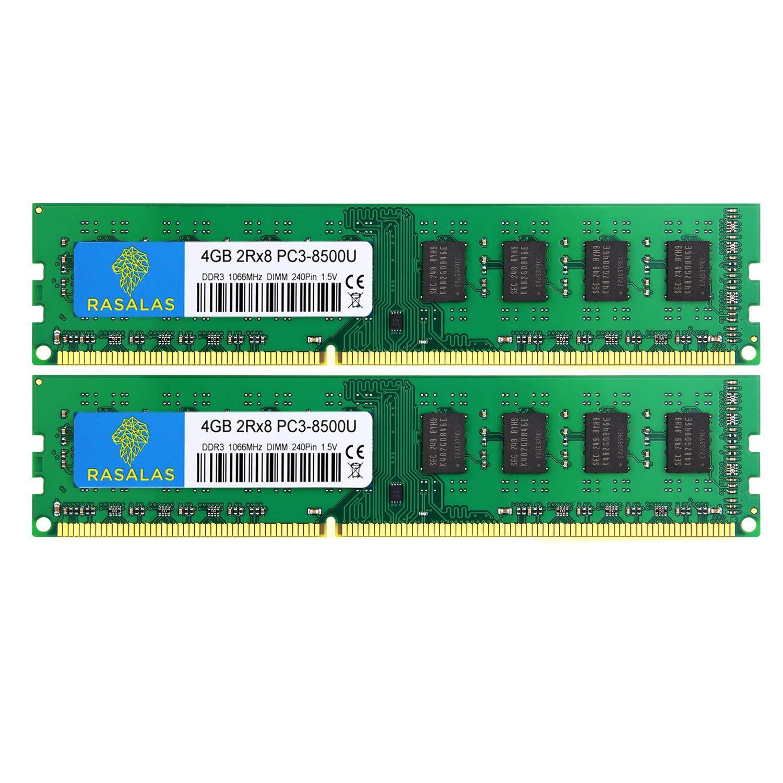 Memoria Ram 8gb Rasalas Ddr3 Kit (2x4gb) Pc3 8500u Ddr3 1066 Mhz Ddr3 Dimm 1066 Ddr3-8500 4gb 2rx8 Pc3 Ddr3 240-pin Modu