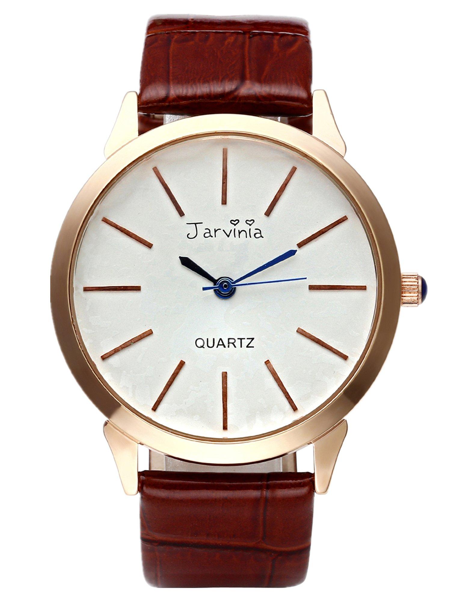 JSDDE Uhren,Elegant Frauen Armbanduhr Einfach Skala Damenuhr Echtleder Armband Rosegold Analog Qaurzuhr J626M,Braun