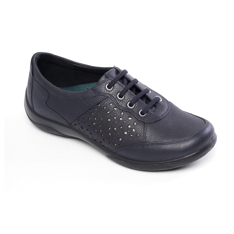 Padders cuero de las mujeres del zapato 'Harp' | con sistema de ajuste anchura doble | Gran Anchura adicional EE-EEE| Cuerno de zapato libre 36 EU|Marina