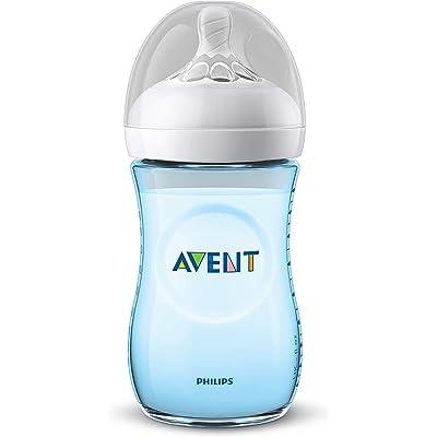 Philips Avent Biberón Natural SCF035/17 - Biberón de 260 ml con tetina con flujo para recién nacidos, diseñada para imitar el tacto del pecho, 0% BPA, 1m+, color azul