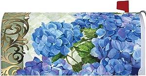 """ Blue Hydrangeas "" - Mailbox Makeover - Vinyl Magnetic Cover"