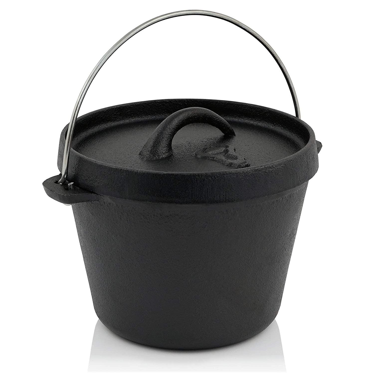 Dutch Oven w// Lid Camping Outdoor Cooking Camp Fire Fireplace Cast Iron 5 Qt Pot