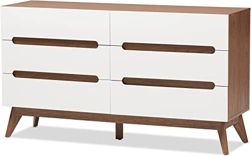 Baxton Studio Calypso Mid-Century Modern White and Walnut Wood 6-Drawer Storage Dresser Mid-Century White Walnut Brown Particle Board MDF with PU Paper