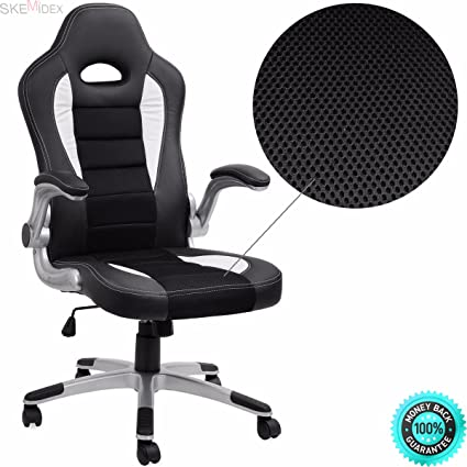 SKEMiDEX   Office Chair Ergonomic Computer PU Leather Desk Swivel Seat Race  Car Game