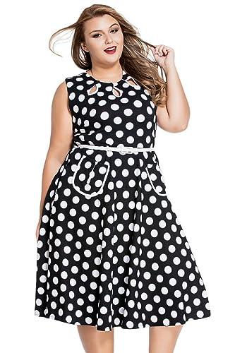 JomeDesign Women Polka Dot O Neck Sleeveless Boho 50s Vintage Dress Plus Size