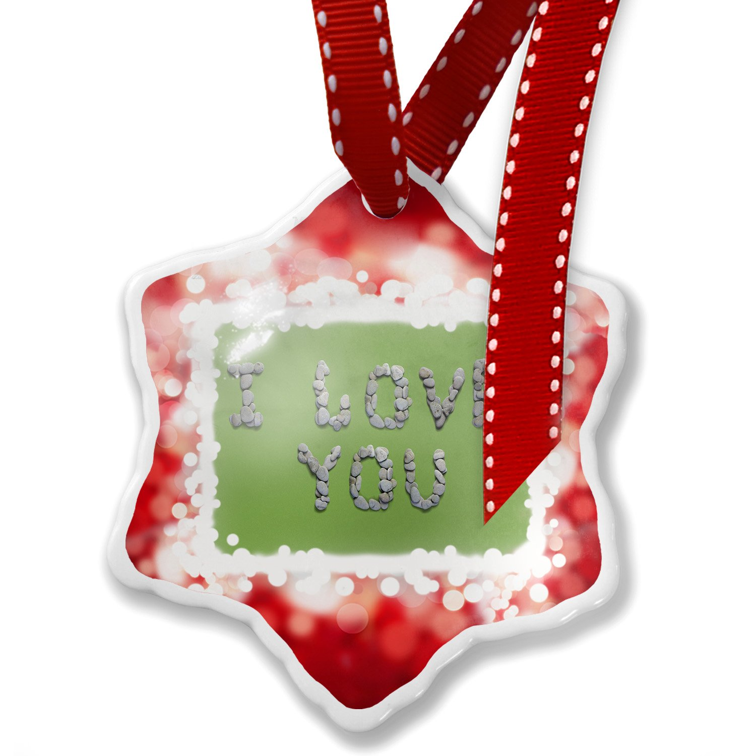 Christmas Ornament I Love You Spa Stones Rocks, red - Neonblond