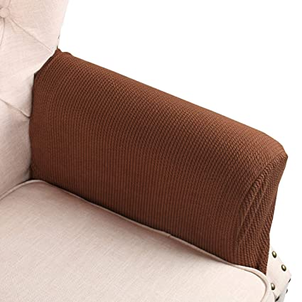 Flyingbean Stretch Couch Armrest Covers For Both Fabric And Leather Chair Loveseat Sofa Recliner Set Of 2 With Adjustable Tapes Coffee