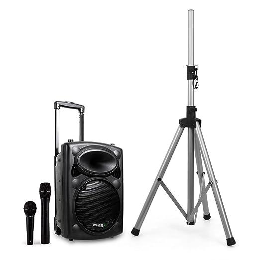 59 opinioni per Ibiza Port8VHF-BT Sistema Audio PA Portatile Con Subwoofer E Bluetooth + Stativo