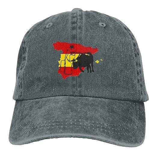 f6355ca3 Denim Hat Spanish Flag with Bulls Snapback Curved Baseball Hats 100 ...