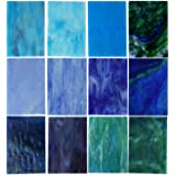 Lanyani 10 Sheets Variety Stained Glass Sheets Pack, 4 x 6 inch Large Cathedral Glass Mosaic Tiles for Crafts, Blue Mixed