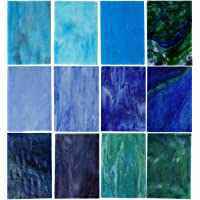 Lanyani 10 Sheets Variety Stained Glass Sheets Pack, 4 x 6 inch Large Cathedral Glass Mosaic Tiles for Crafts, Blue…