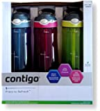Contigo Autospout with Straw Reusable Water Bottle, 709ml, 3 Pack, 3 Colours