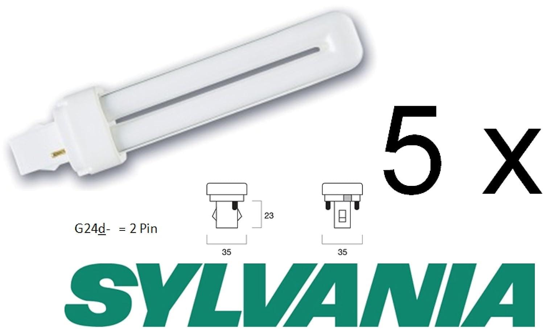 Sylvania lampada fluorescente più della confezione: 5PZ Lynx D, innesto a baionetta, 26W, G24d 2Pin, 10.000ore, colore della luce 840K, luce bianca fredda