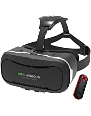 "VR Headset for iPhone and Android Phones, YSSHUI 3D Virtual Reality Glasses with Bluetooth Remote for 3D Movies Video Games, Compatible with Cellphones from 4-6"" Size"