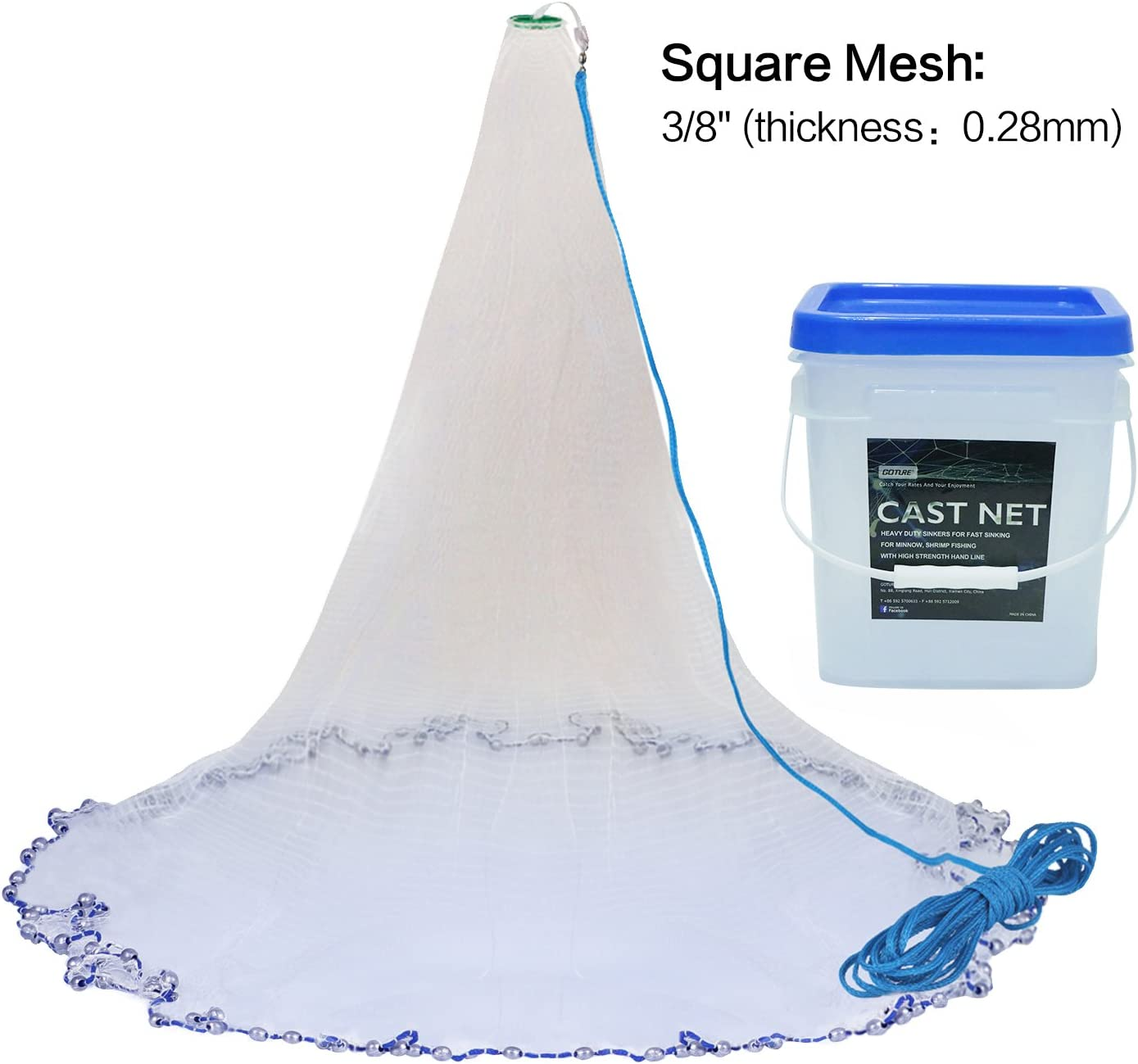 3//8inch Mesh Size Goture Real Lead American Saltwater Fishing Net Heavy Duty Cast Net with Bucket for Bait Trap Fish 7ft//8ft//10ftRadius