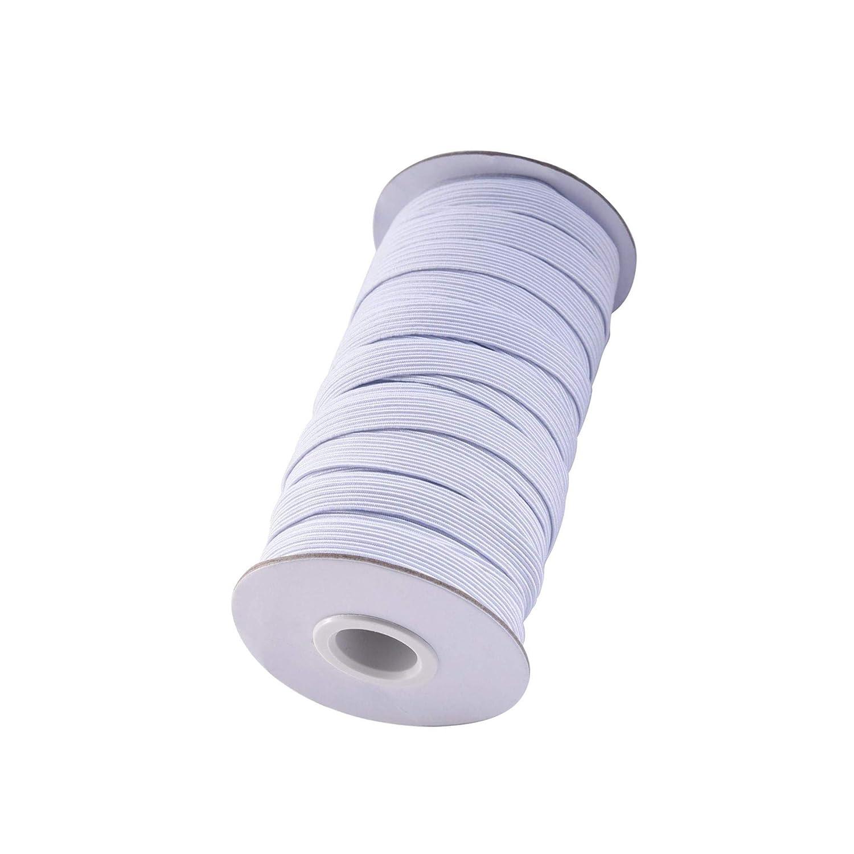 LuLyLu 20 Yardas 1 cm Rollo de El/ástico Ancho Cinta El/ástica Banda El/ástica Plana de Tejido de Costura Blanco by
