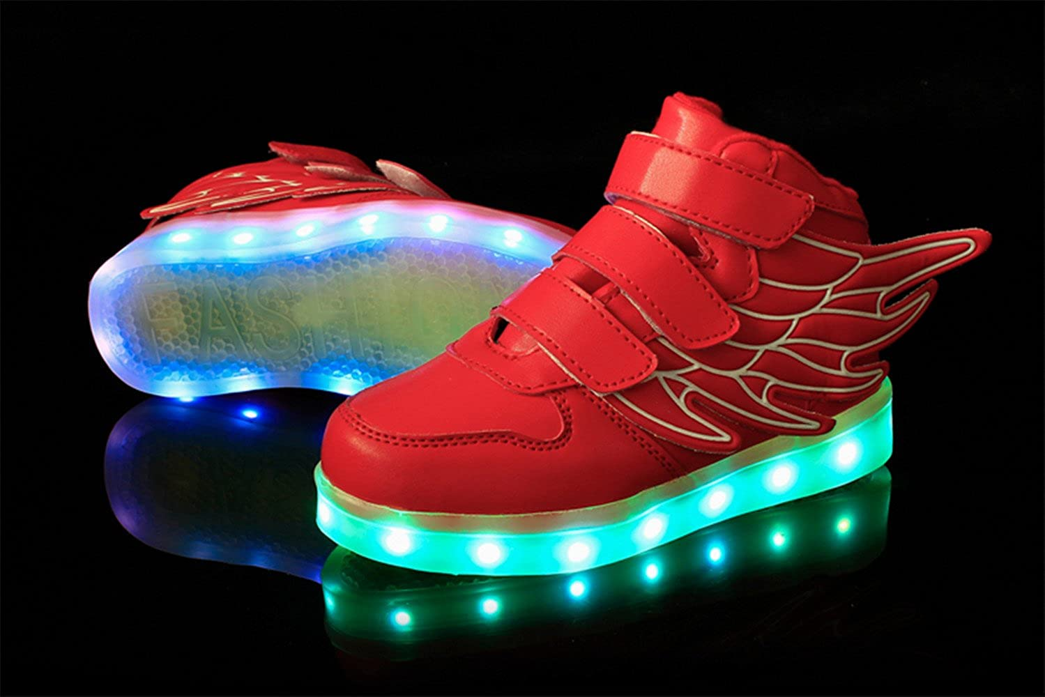 HarlanLi Kids Boy Girl with Wings USB Charging LED Light Sport Shoes Flashing Fashion Sneakers Red