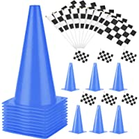 PACEARTH 11 Inch Plastic Traffic Cones with Chequered Flags 10 Pack Agility Cones Thick Soccer Training Cones for…