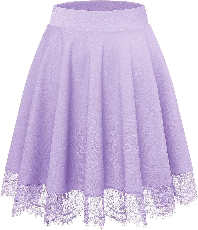 Bbonlinedress Women's Vintage High Waist Stretchy Casual Mini Skater Skirt Lace Hem