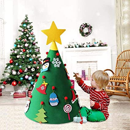 Toddler Christmas Tree.Umiwe 3d Diy Felt Christmas Tree With 18pcs Hanging Ornaments Xmas Gifts Toddler Friendly Cone Shaped Christmas Tree Hanging Ornaments For Kids