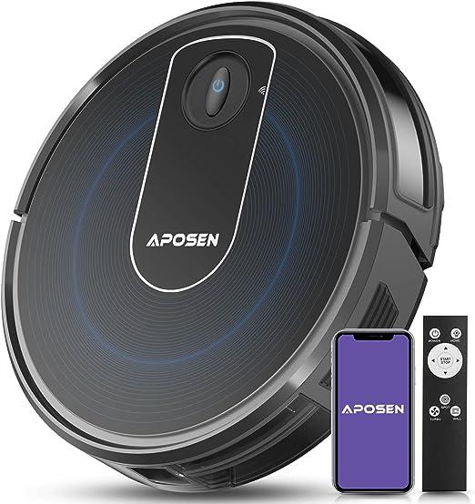 Aspiradora de robot Apossen, conectividad Wi-Fi, súper delgada, silenciosa, autocarga, 2000Pa po...