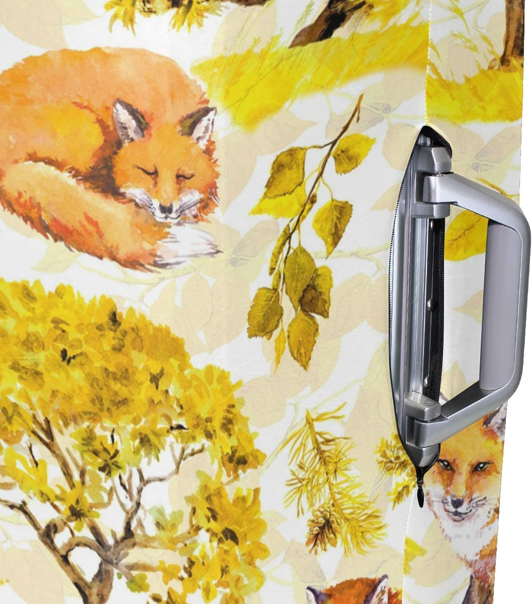 OREZI Luggage Protector,Autumn Yellow Trees With Fox Elastic Travel Luggage Suitcase Cover,Washable and Durable Anti-Scratch Case Protective Cover for 18-32 Inches