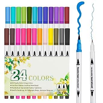 Amazon Bestfire マーカーペン 24色 カラーペン 水彩ペン 細字太字