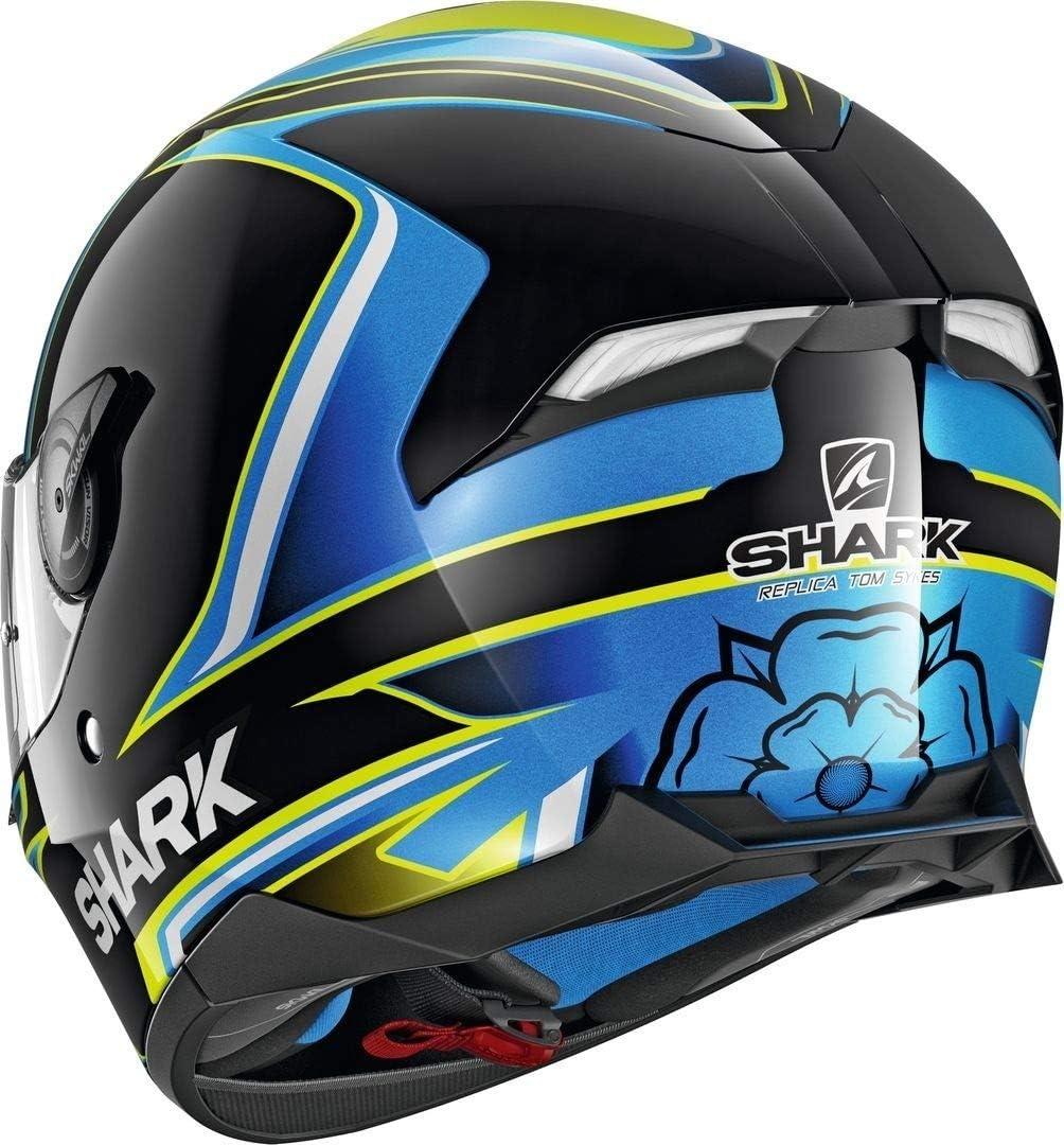 M Schwarz//Blau//Gelb Shark Motorradhelm SKWAL 2 SYKES KBY