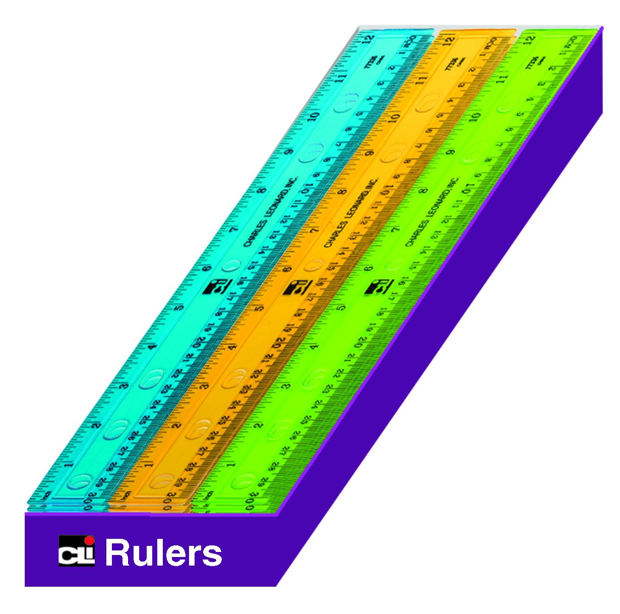 Charles Leonard Double Bevel Plastic Flat Rulers, Translucent Assorted Colors, 12 Inch, 36-Pack (80336-ST)