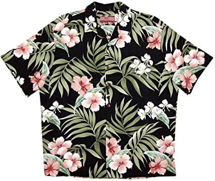 60b4e443 Robert J. Clancey RJC Men's Breathtaking Island Getaway Rayon Hawaiian Shirt  Black Small