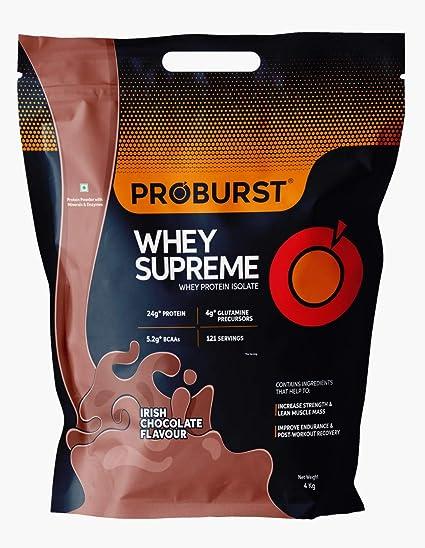 Proburst Supreme Whey Protein Powder With Glutamine & BCAAs 4 Kg  115 Servings   24 gm Protein Per Serving -(Irish Chocolate)