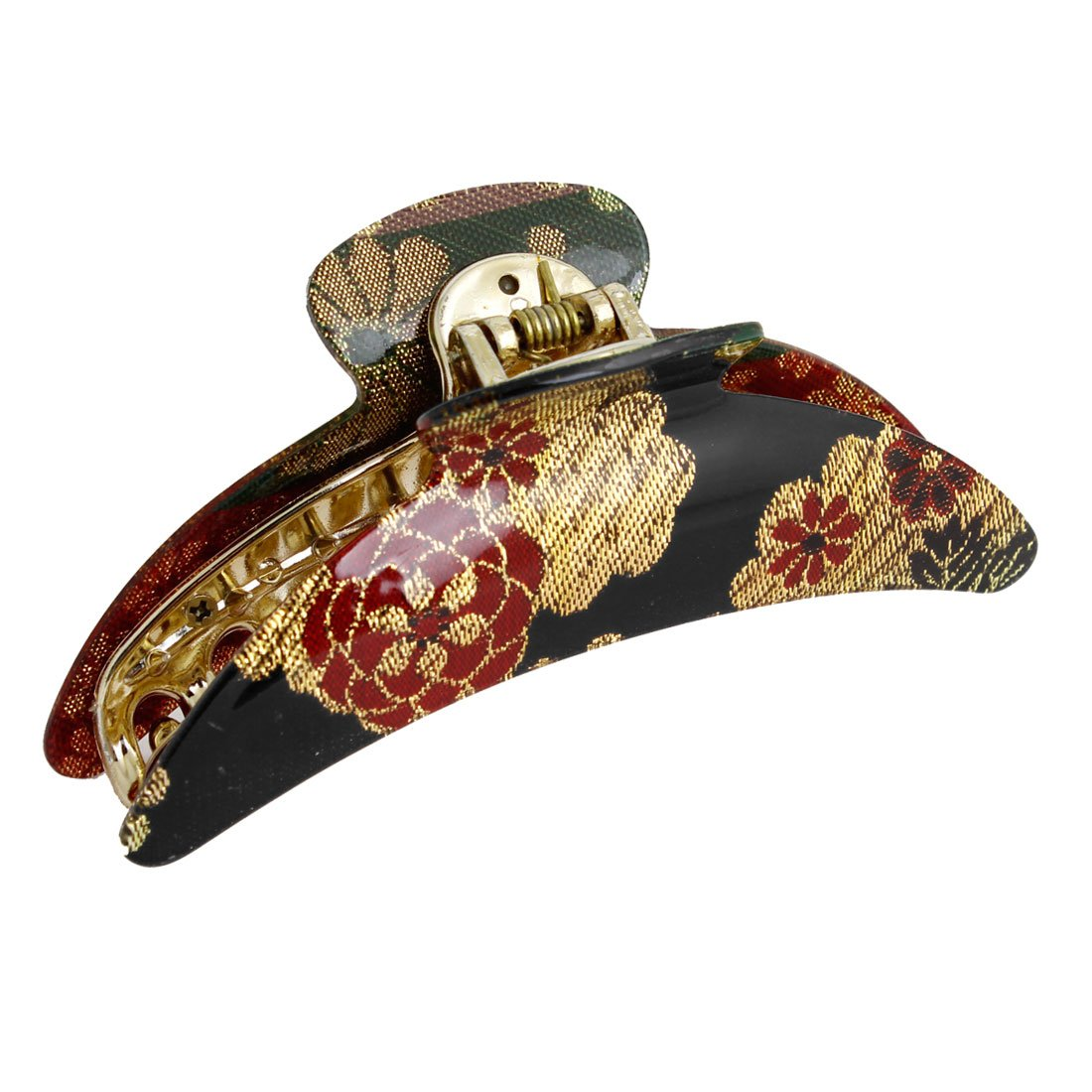 uxcell Plastic Black Gold Tone Red Floral Print Hair Clip Claw Clamp for Lady a13092700ux0481