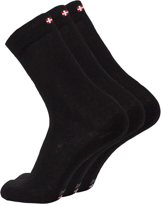 DANISH ENDURANCE Calcetines de Lana Merino, para Hombre y Mujer, Calcetines Clásicos de Vestir, Cómodos, Transpirables, para el Uso Diario, Negro, Gris, Pack de 3