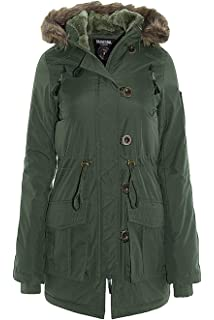 a604fdc60 Ladies Parka Jacket Brave Soul Womens Hooded Coat Padded Faux Fur PU ...