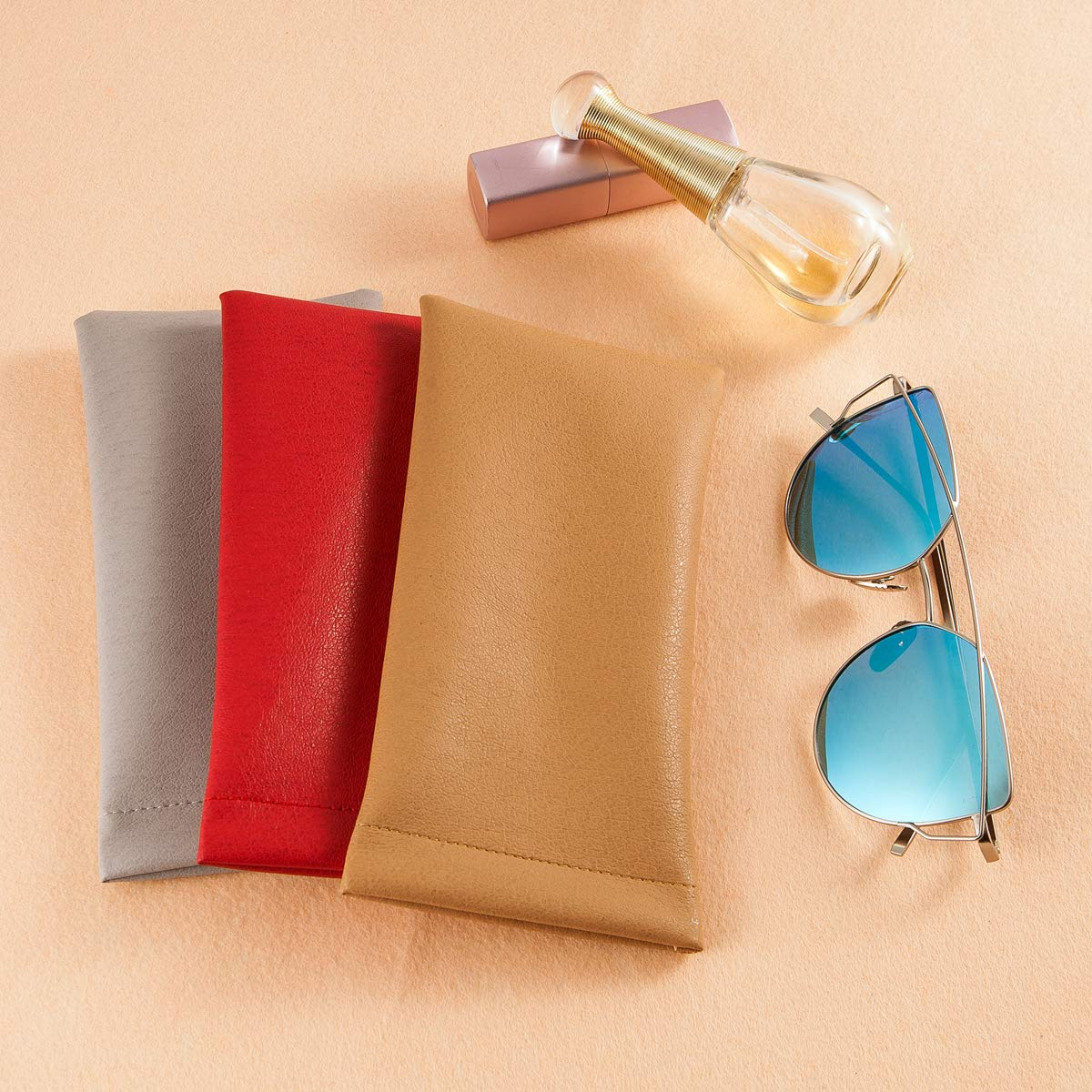 Sunglasses Case Squeeze Top 3Pack Soft Glasses Pouch Eyeglasses Storage Bag Multiuse