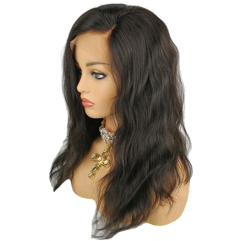 Human Hair 360 Lace Wig Natural Wave Wavy Body Wave Brazilian Virgin Hair 150% Density Pre plucked Hairline Natural Color with Baby Hair Bleached Knots Glueless(360 Lace Wig, 14 inches)